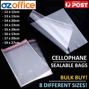 BULK BUY Resealable Clear Cellophane Bags Plastic Adhesive Cookie Craft Cards