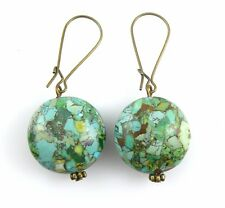 BIG Vintage 1960s 70s Handmade Brass & Turquoise Chip Inlay Dangling EARRINGS