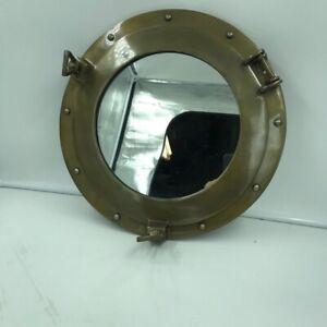 """Nautical Round 15"""" Brass Mirror Porthole Shiny Finish - Ship Cabin Decor"""