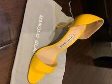 Manolo Blahnik patent leather bright yellow catalina heels- size 38-brand new