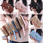 Fashion Lady Bifold Leaves Wallet Leather Clutch Card Holder Purse Long Handbag