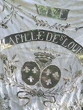 """Souvenir Royaliste Broderie """" Vive la Fille de Saint Louis"""" Linge Ancien"""