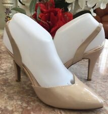 New Cushion Walk by Avon Beige Patent Leather Slingback Heel Pump Shoes Sz 7/38