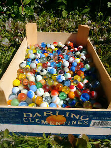 700+ Vintage to Modern Assorted Marbles In Wooden Crate Rural County Trade!