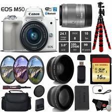Canon EOS M50 Mirrorless Digital Camera (White) +15-45mm Lens + UV FLD CPL Filte