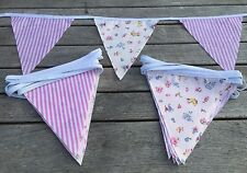 Bunting - Pink Candy Stripe Floral Shabby Chic Vintage Decor Wedding Fabric 9ft