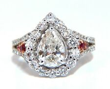 2.40ct Natural Pear Shaped Diamond Ruby Cocktail Halo Cluster Ring 14 Karat