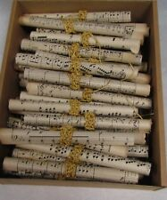 Hand made VINTAGE wedding / Christmas decorations. 40 x Music paper coils, gold.