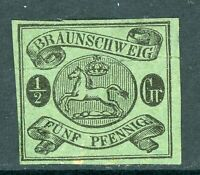 Germany 1863 Braunschweig ½ sGr Blue Green SG #15 Mint I23 ⭐⭐⭐⭐⭐⭐