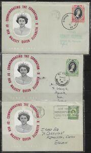 British Guiana 1953 QEII Coronation FDC's x 3 Cancelled to Devon & Plymouth