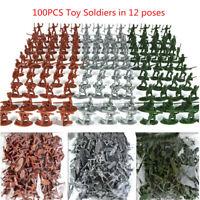 100pcs / Paquet Militaire Plastique Jouet Soldats Armée Hommes Figures 12 Poses