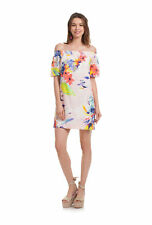 TRINA TURK SAVILLA Off Shoulder Eyelet Dress Flower Cotton Print Small $248 NWT