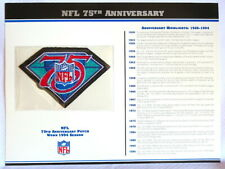 NATIONAL FOOTBALL LEAGUE ~ 75th ANNIVERSARY NFL PATCH CARD Willabee & Ward 1994