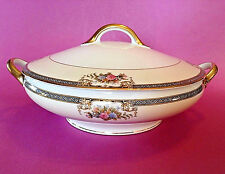 Noritake Grasmere 76567 Covered Tureen With Handles - Cobalt Blue Trim - Japan
