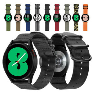 Military Woven Nylon Wrist Watch Band Strap For Samsung Galaxy Watch 4 40mm 44mm