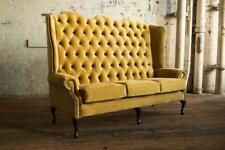 Chesterfield Grand Tissu Design Salon Canapé Rembourrage 3 Siège Cuir #145