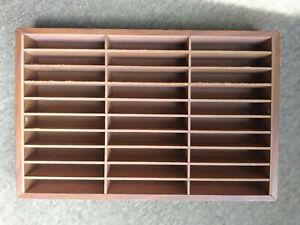 Vintage 30 Cassette Tape Wood Wall Rack Storage Holder Display Case