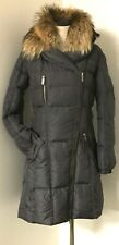 ADD RICH CHARCOAL GRAY DOWN QUILTED PUFFER COAT RACCOON FUR TRIM HOODED  8