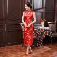 Chinese Summer Long Cheongsam Women Silk Satin Maxi Dress Ball Gown S-3XL