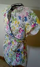 Womens SB SCRUBS TOP Fun Floral white pastels XS Pockets Extra Small