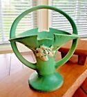 Roseville Pottery ca.1950 Blended Grey & Green Gardenia Handled  Basket # 609-10