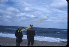 Blonde Girl Dad Beach Winter Long Island 1950s 35mm Slide Red Border Kodachrome