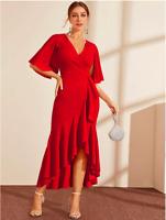 Red Split Sleeve Asymmetrical Ruffle Hem Wrap Cocktail Dress Sz XS S M L XL