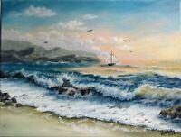 "Art16""/12""sunset ,oil, Seascape,ocean,waves, evening painting,landscape,surf"