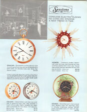 1958 PAPER AD 4 PG COLOR Sessions Clocks Aquarius Underwater Fish Wall Alarm ++