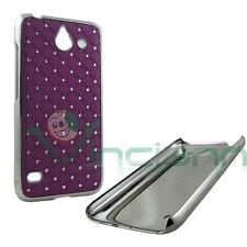 Custodia BRILLANTINI per Huawei Ascend Y550 cover VIOLA diamond rigida nuova