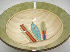 "Surfboard Themed Huge 12"" Serving Bowl by Fresh Decor Green Hibiscus Wood Look"
