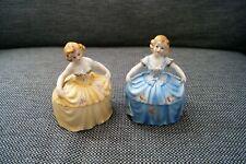 Rare Lot of 2 Vintage Art Deco Lady Figural Jewelry Powder Jar Trinket Box