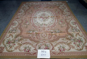 8' X 10' Beautiful Pastel Pink Chic Shabby French Rose Aubusson Carpet