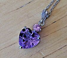 1.5 ct. Amethyst & Pink Topaz Helzberg Pendant, 18in. .925 Chain, Quality Made