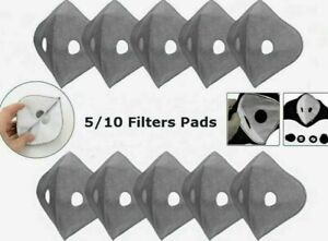 100 X PM2.5 Activated Carbon Filter Sports Mask Replaceable Pads Breathable UK