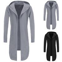 Men's Warm Trench Coat Jacket Hoody Cardigan Sweatshirt Long Capes Cloak Winter