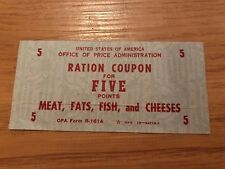 Rare Vintage Food Ration Coupon for Five Points of Meat Fats Fish Cheeses