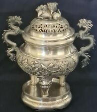 ANTIQUE 18/19th CHINESE INDOCHINE VIETNAM  SILVER CENSER TRIPOD INCENSE BURNER