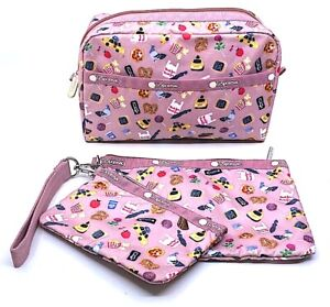 Le Sportsac Set 3 Cosmetic Wristlet Bags Zipper Pouches Pink City Icons Pizza