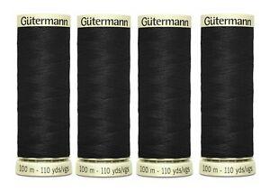 4 x Gutermann 100m Sew-All Thread - Black 100% Polyester