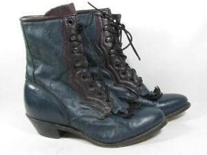 Vintage Lacer Granny Cowboy Boot Women size 7.5 Teal