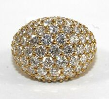 Fine Wide Round Diamond Cluster Cigar Dome Ring Band 18k Yellow Gold 5.25Ct