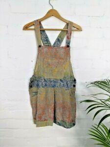 GRINGO Boho Cotton Dungaree Shorts Hippy  Fit Size  10 12 14   RAINBOW Stripe