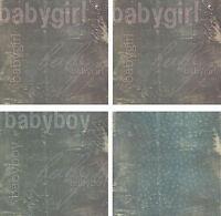 Mambi 12x12 HEAVYWEIGHT Scrapbook Paper SATIN Finish - Baby Boy or Girl 2 Sheets