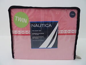 *NAUTICA*CAMBRIA TWIN PILLOWCASE FITTED FLAT SHEET 3 PIECE SET PINK WHITE GIRL