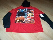 Size 14-16 Star Wars Angry Birds Hooded Long Sleeve T Shirt Top Red Black New