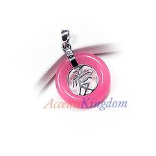 Sterling Silver Ss925 Pink Jade Love Pendant