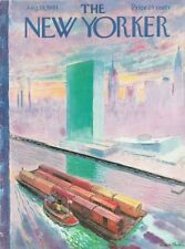 1961 Garret Price ART COVER ONLY -Barge Moving Train Cars up River in City