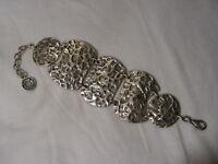 ...Antik Collection...Silver Tone Panels Bracelet...