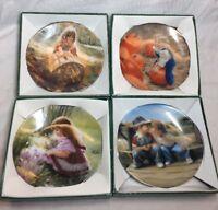 "Lot (4) Vintage Pemberton and Oakes Donald Zolan 1990s Mini Plates 3 1/4"" Signed"